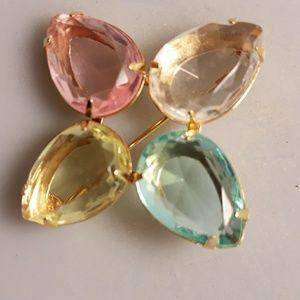 Avon dressy glass pin w matching earrings
